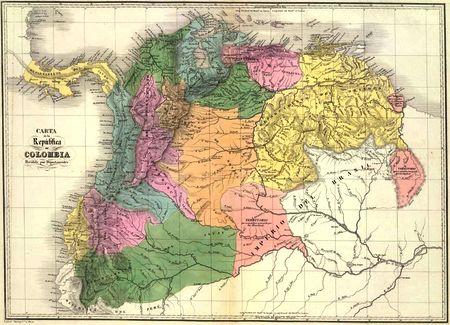 Carte de la Grande Colombie, par Agustin Codazzi