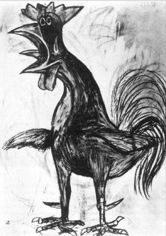 Le coq, dessin de Pablo Picasso (1938)