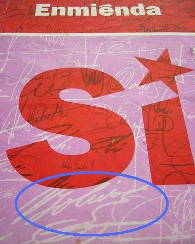 La signature de Simón Bolivar sur les affiches du Si