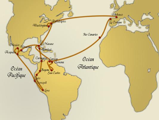 Itinéraire de l'expédition de Humboldt et Bonpland en Amérique équinoxiale
