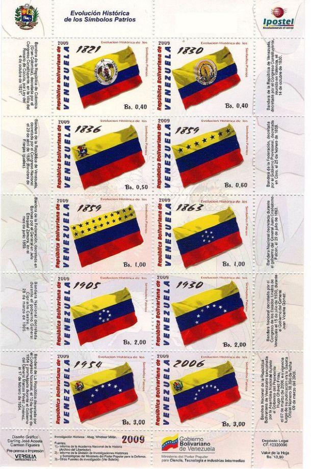 timbres - drapeaux du Venezuela (1821-2006)