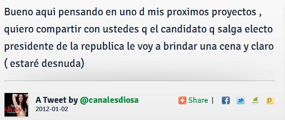 Tweet de Diosa Canales