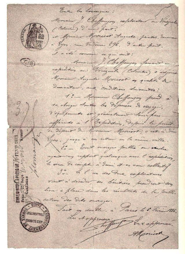 Le contrat entre Jean Chaffanjon et Auguste Morisot