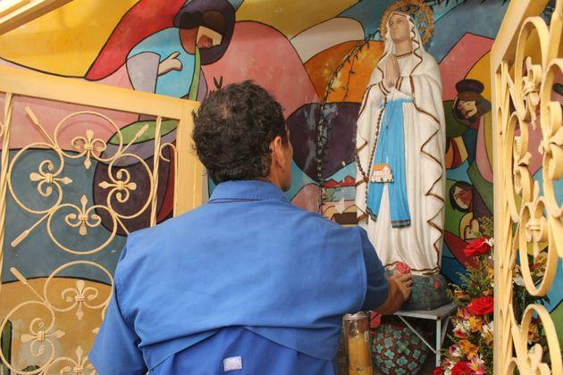 Henrique Capriles Radonski et la vierge de Regla, Tovar, Venezuela