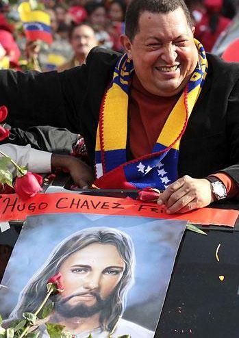 Hugo Chavez avec affiche du Christ