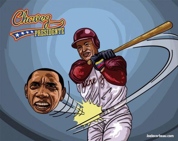 Chavez joue au baseball avec Obama