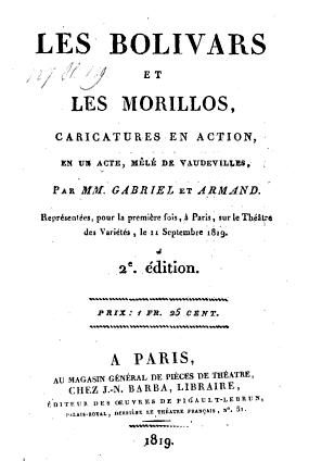 Couverture de la 2e édition de la pièce Les bolivars et les morillos (1819)