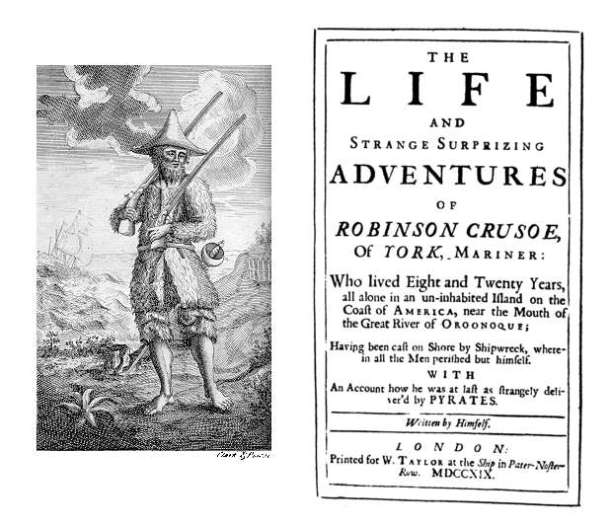Robinson Crusoe, 1719, 1st edition