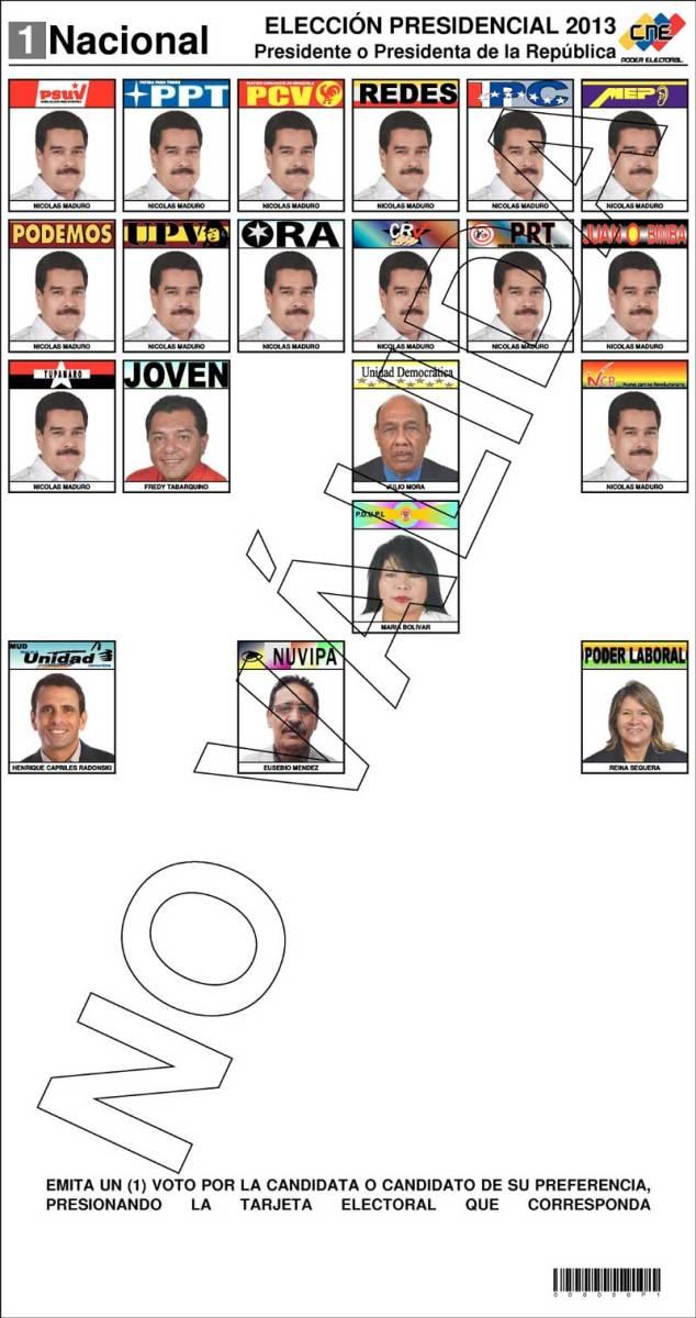 Bulletin des élections présidentielles 2013