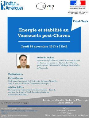 """Conférence """"Énergie et stabilité au Venezuela post-Chávez"""" àParis"""
